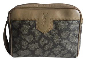 Saint Laurent Yves Ysl Canvas Ysl Vintage Tan and Gray Clutch
