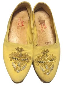 Hermès Canary Yellow with gold and silver embroidered anchor label Flats