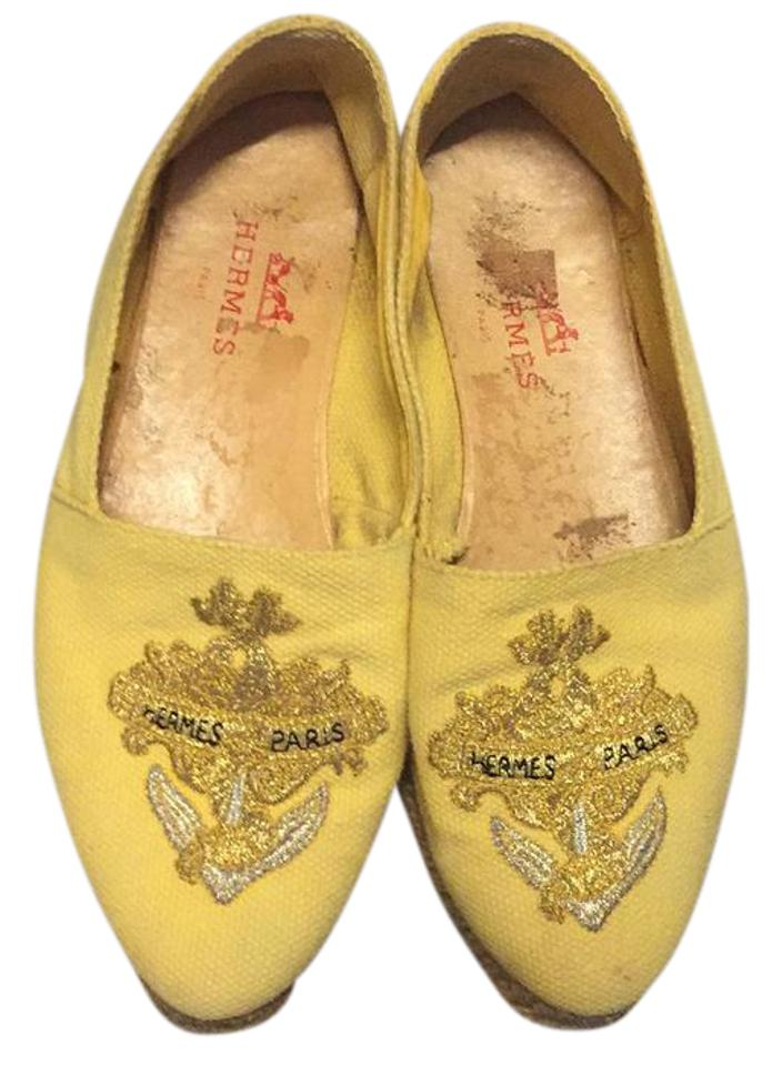 Hermès and Canary Yellow with Gold and Hermès Silver Embroidered Anchor Label Malaga Flats 70c7a3