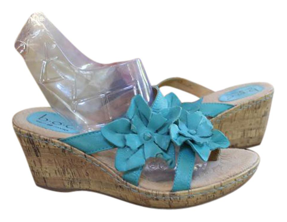 Teal Blue Born Very Leather Slip On Floral Very Born Comfortable Wedges d7b3ca
