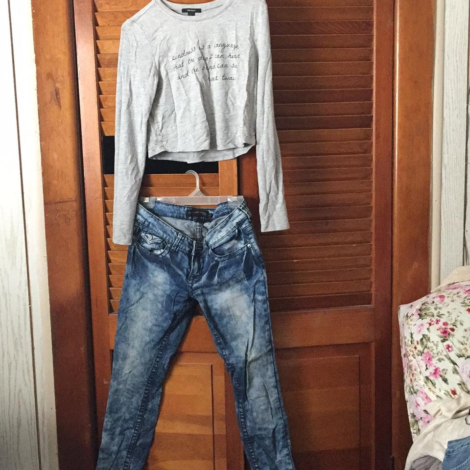 b5564adc427ce0 Rue 21 Low Rise Skinny Jeans and Crop Top Shirt. Pants Size 6 (S