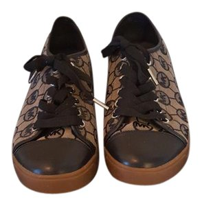 Michael Kors Logo Leather Canvas Sneakers Black And Tan