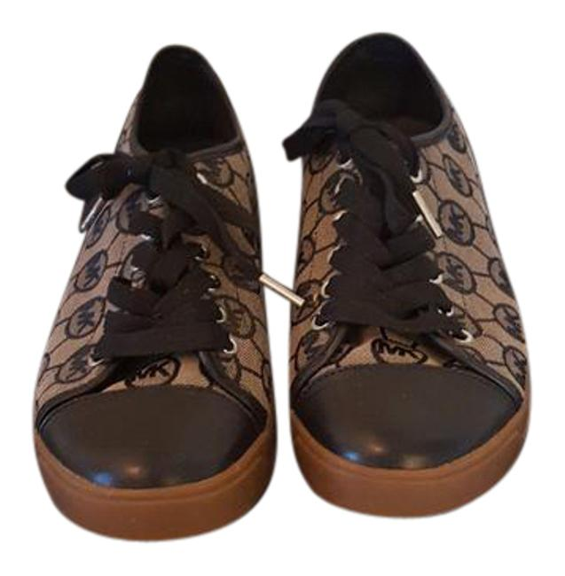 Item - Black and Tan Logo Leather Canvas Sneakers Size US 10 Regular (M, B)