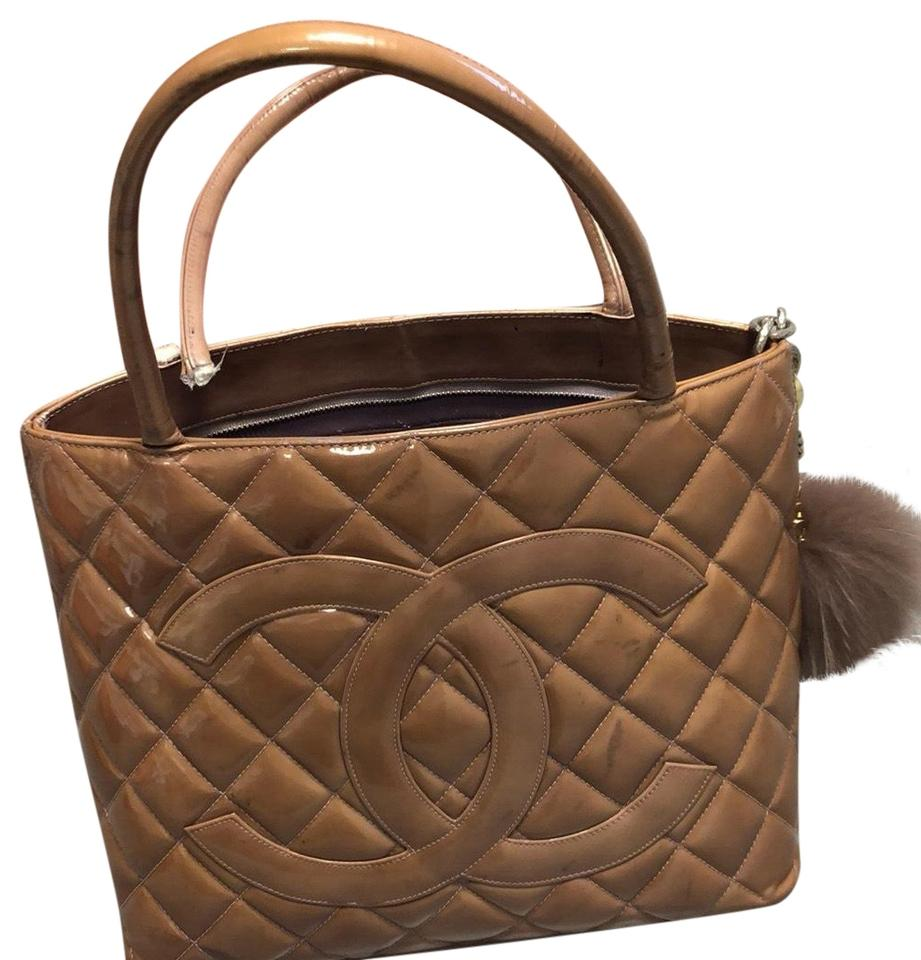 035f84b6b538 Chanel One Handle Medallion Needs Repair On Bronze Peach Patent Leather Tote