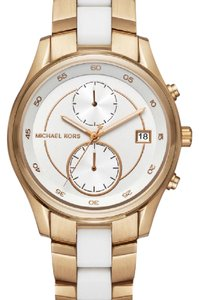 Michael Kors Michael Kors Briar Gold-Tone and White Silicone Watch MK6466