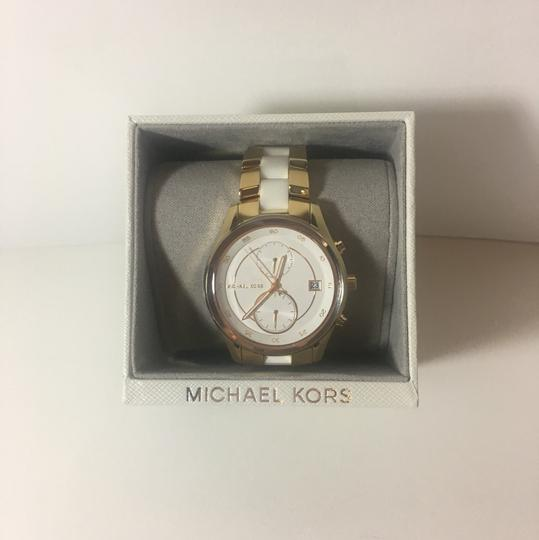 Michael Kors Michael Kors Briar Gold-Tone and White Silicone Watch MK6466 Image 2