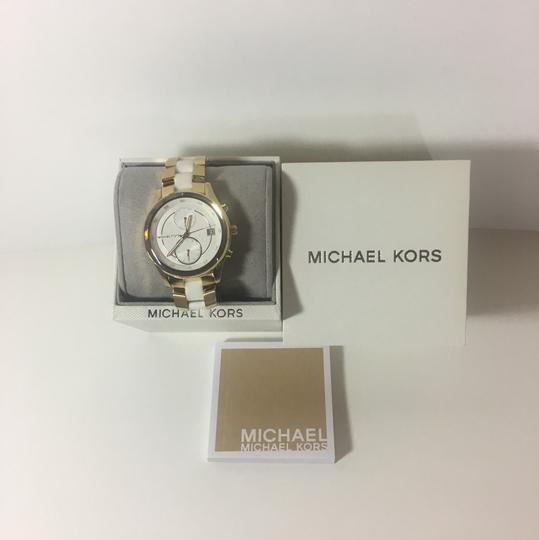 Michael Kors Michael Kors Briar Gold-Tone and White Silicone Watch MK6466 Image 3