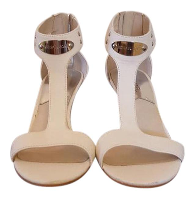Michael Kors White Leather T Strap Sandals Size US 8.5 Regular (M, B) Michael Kors White Leather T Strap Sandals Size US 8.5 Regular (M, B) Image 1