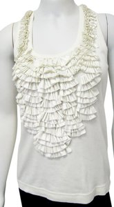 Givenchy Ruffled Cotton Sleeveless Top ivory