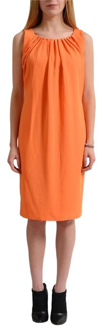 Preload https://img-static.tradesy.com/item/21817584/versace-collection-orange-sleeveless-women-s-sheath-short-casual-dress-size-4-s-0-1-650-650.jpg