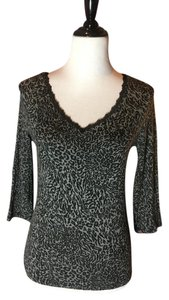 LUISA CERANO V-neck Lace Detail Animal Fitted T Shirt Black heather grey leopard print