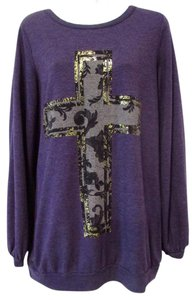 CHASOR Cross Screenprint Cutout Long Sleeve Casual Sweater