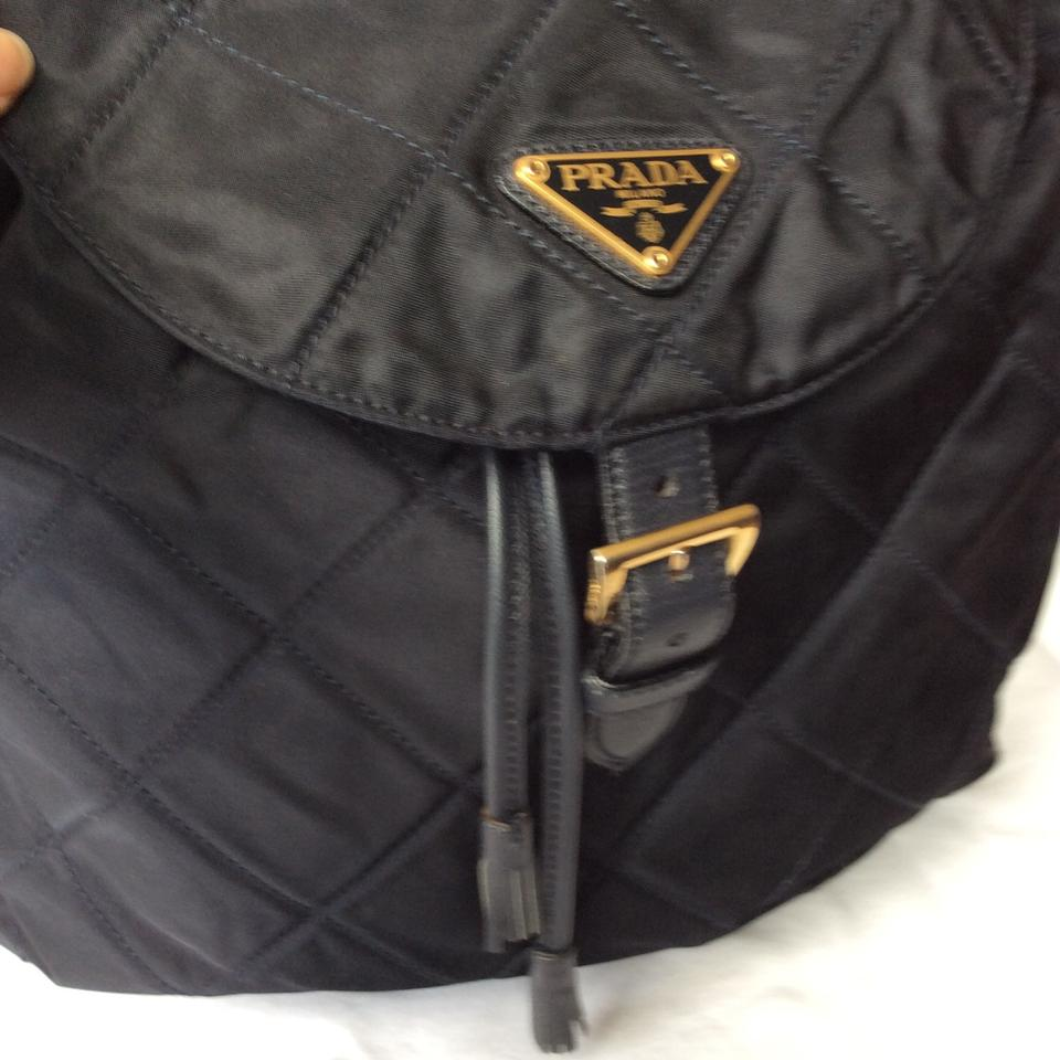 edbd870a7b44 Prada Quilted & Leather Black Inside Lining Is Blue Nylon Backpack - Tradesy