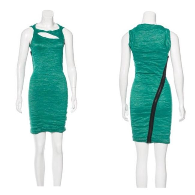 Preload https://img-static.tradesy.com/item/21817779/yigal-azrouel-teal-cutout-accented-mini-short-cocktail-dress-size-2-xs-0-0-650-650.jpg