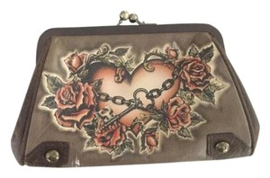 Isabella Fiore Heart And Chains Brass Handpainted Chain Strap Distressed Leather Clutch