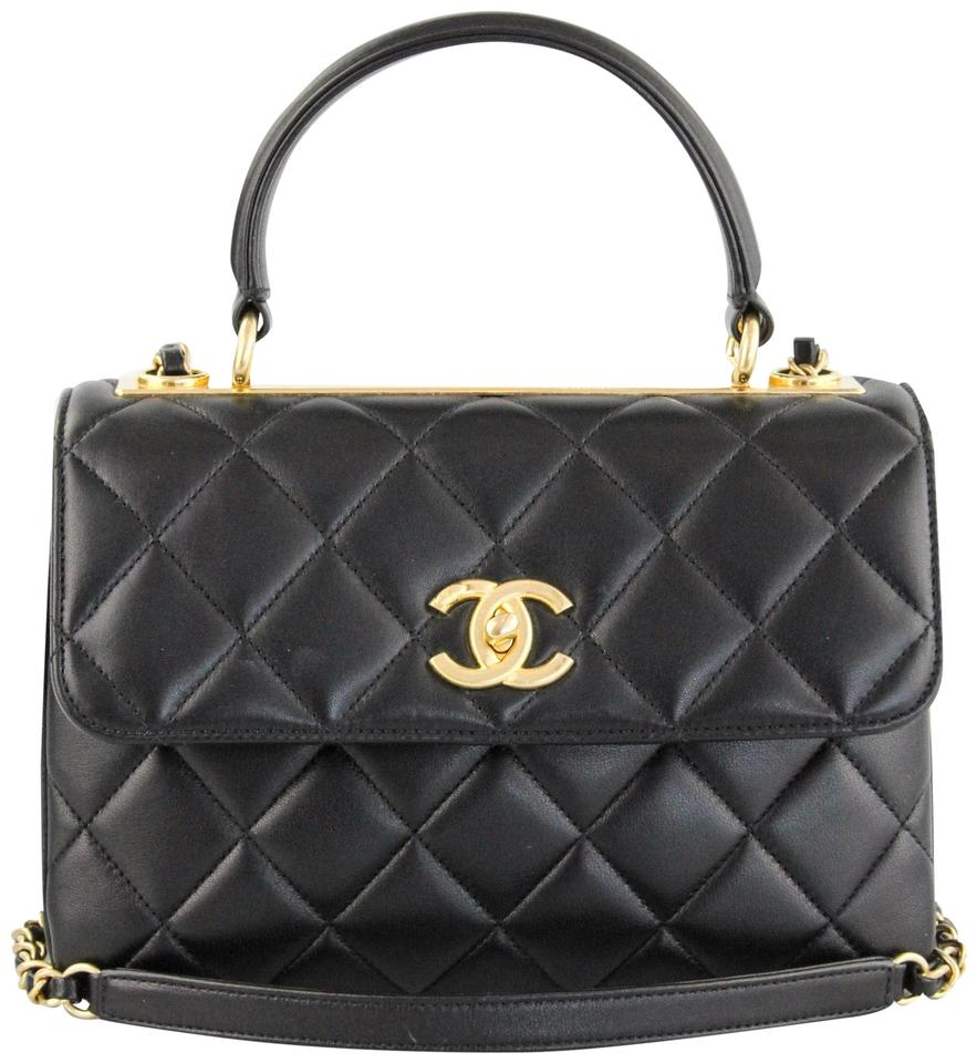 Chanel Small Trendy Cc Top Handle Black Lambskin Leather Satchel ... c39a0a57d6546