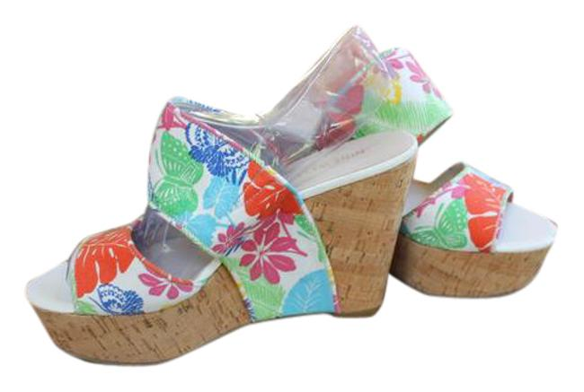 Nine West Bright Multi Color Tropical Canvas Nwob Wedges Size US 8.5 Wide (C, D) Nine West Bright Multi Color Tropical Canvas Nwob Wedges Size US 8.5 Wide (C, D) Image 1