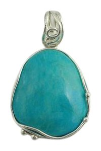 Other Natural Cut Turquoise Pendant- Sterling Silver