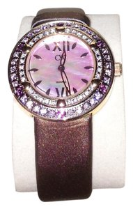 Charles Winston Charles Winston Pink Crystal Mother of Pearl Brown Satin Strap Watch
