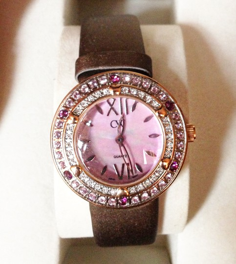 Charles Winston Charles Winston Pink Crystal Mother of Pearl Brown Satin Strap Watch Image 1