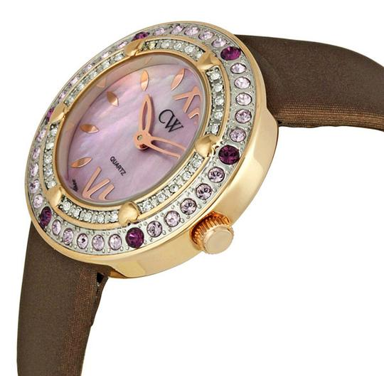 Charles Winston Charles Winston Pink Crystal Mother of Pearl Brown Satin Strap Watch Image 2