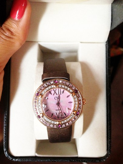 Charles Winston Charles Winston Pink Crystal Mother of Pearl Brown Satin Strap Watch Image 4