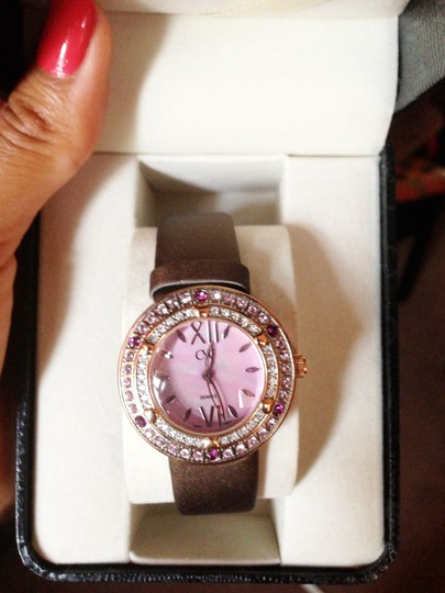 Charles Winston Charles Winston Pink Crystal Mother of Pearl Brown Satin Strap Watch Image 6