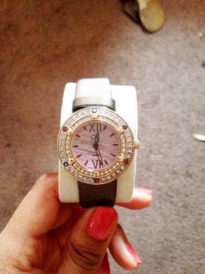 Charles Winston Charles Winston Pink Crystal Mother of Pearl Brown Satin Strap Watch Image 8