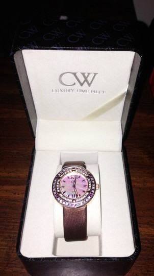 Charles Winston Charles Winston Pink Crystal Mother of Pearl Brown Satin Strap Watch Image 9