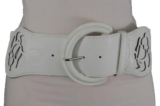 alwaystyle4you Women Western Wide Stretch White Faux Leather Belt Big Buckle Flower Image 1