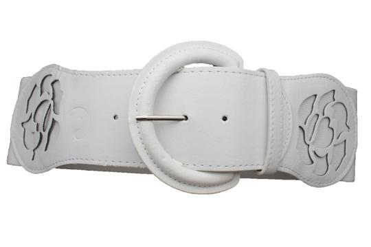 alwaystyle4you Women Western Wide Stretch White Faux Leather Belt Big Buckle Flower Image 2