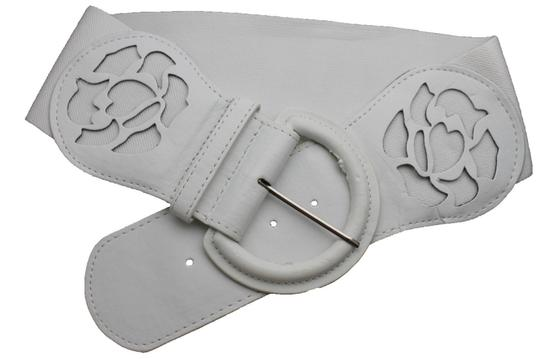 alwaystyle4you Women Western Wide Stretch White Faux Leather Belt Big Buckle Flower Image 3