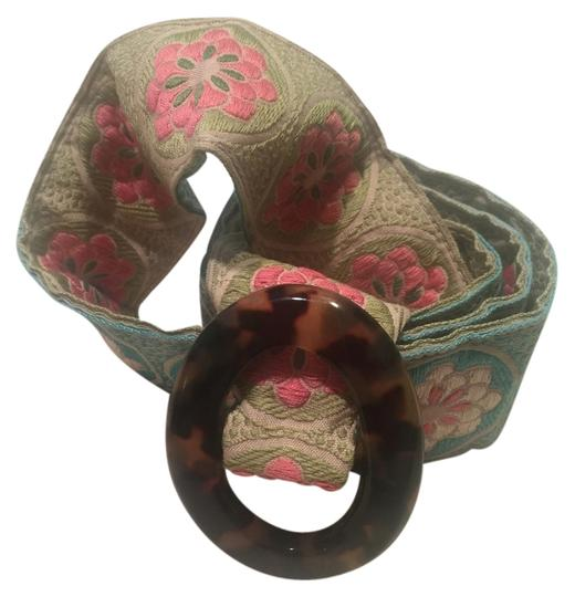 "Hadley Potter Hadley Potter Multicolored, Reversible, Flowered Fabric Belt with Tortoise Buckle 38"" x 2"""