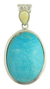 Other Natural Oval Turquoise Drop Pendant - Sterling Silver