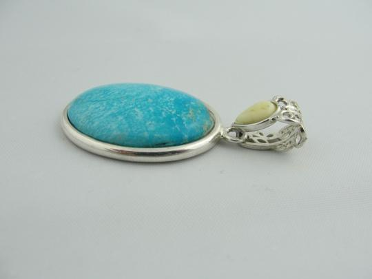 Other Natural Oval Turquoise Drop Pendant - Sterling Silver Image 1