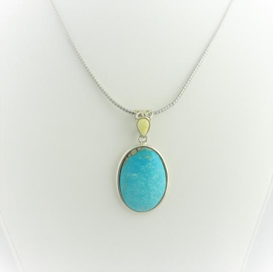 Other Natural Oval Turquoise Drop Pendant - Sterling Silver Image 2