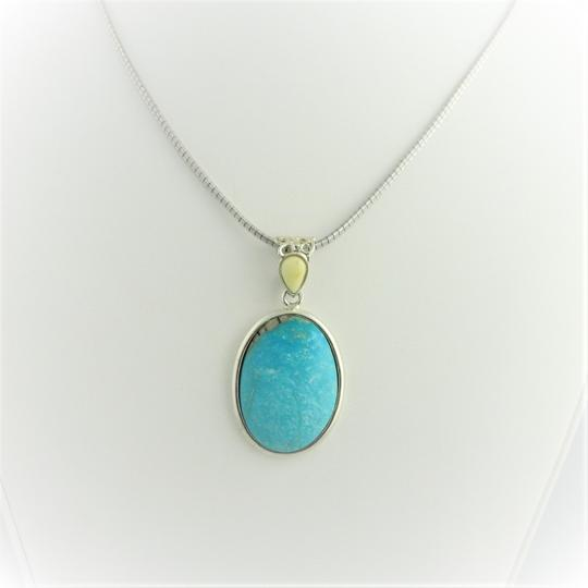 Other Natural Oval Turquoise Drop Pendant - Sterling Silver Image 3