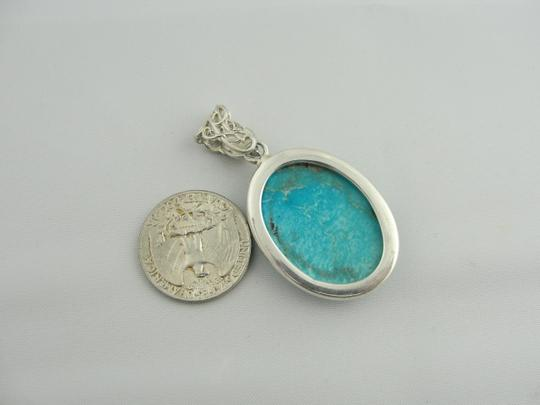 Other Natural Oval Turquoise Drop Pendant - Sterling Silver Image 4
