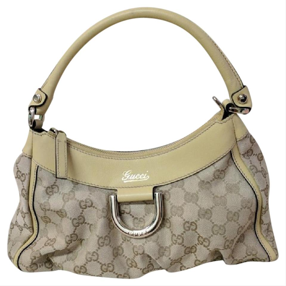 a27665c95ac Gucci Monogram Small D Hobo Brown and Yellow Canvas Leather Shoulder ...