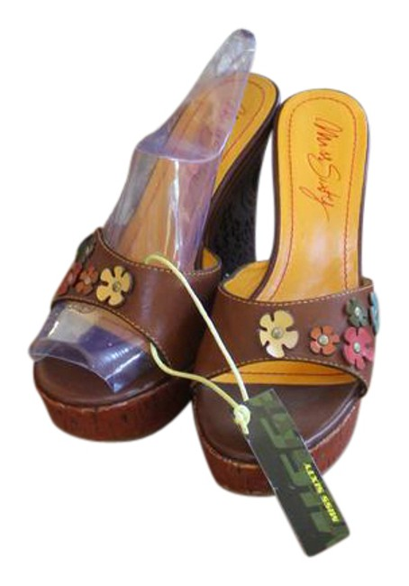 Item - Brown Adorable Leather Leather Flowers Hippy Like 7.5 Nwob Wedges Size US 8 Regular (M, B)