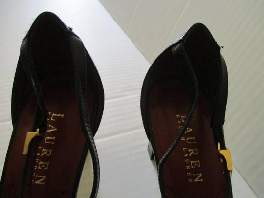 Ralph Lauren Logo Buckles Textured Surface Stacked Heels Black T-Ankle Strap Pumps Image 1