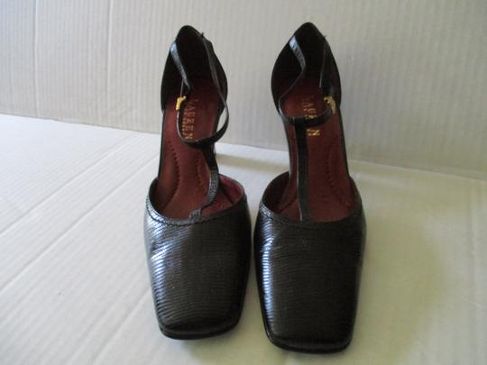 Ralph Lauren Logo Buckles Textured Surface Stacked Heels Black T-Ankle Strap Pumps Image 2