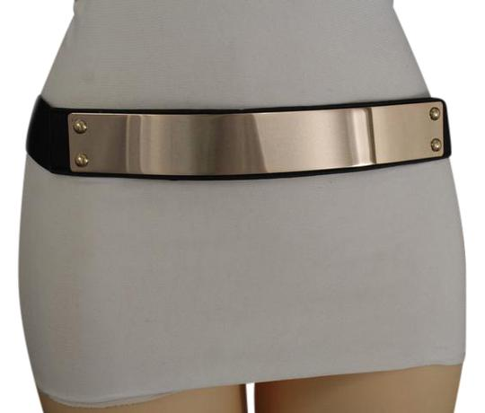 alwaystyle4you New Women Black Fabric High Waist Elastic Hip Fashion Belt Gold Metal Image 0