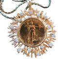Custom Made Gold & Diamonds 1927 Solid Twenty Dollar Coin Piece Starburst Necklace Custom Made Gold & Diamonds 1927 Solid Twenty Dollar Coin Piece Starburst Necklace Image 1