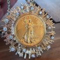 Custom Made Gold & Diamonds 1927 Solid Twenty Dollar Coin Piece Starburst Necklace Custom Made Gold & Diamonds 1927 Solid Twenty Dollar Coin Piece Starburst Necklace Image 3