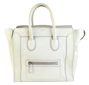 Céline Pebbled Leather Mini Luggage Luggage Phantom Knot Tote in white