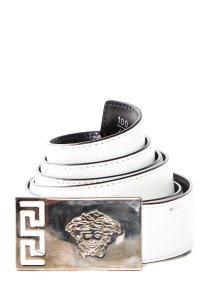 Versace White Leather And Medusa Head Detail Belt