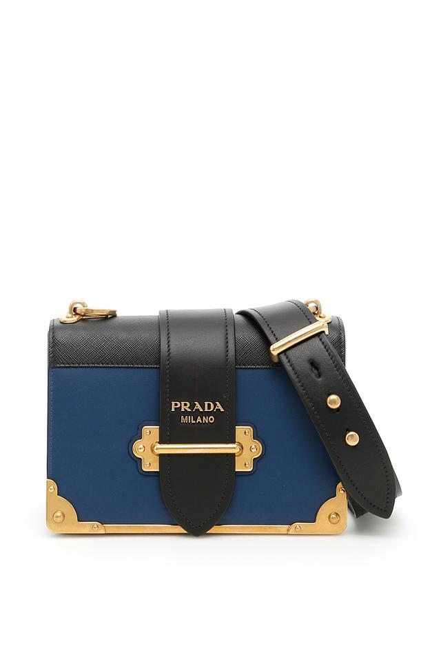 408dd92ad796 Prada Cahier Notebook Colorblock Blue   Black Leather Shoulder Bag ...