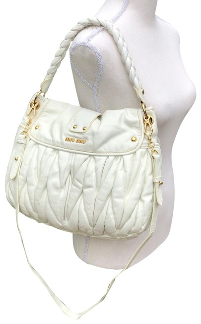 Miu Miu Matelasse Coffer White Leather Shoulder Bag Miu Miu Matelasse Coffer White Leather Shoulder Bag Image 1