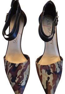 Sole Society Black and Brown camo calf hair Pumps